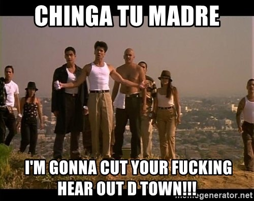 Blood in blood out - chinga tu madre  I'M gonna cut your fucking hear out D TOWN!!!