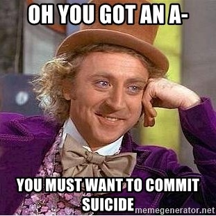 Willy Wonka - Oh you goT an A- You must waNt to commIt suicide