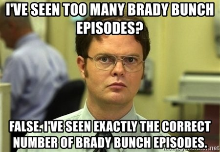 Dwight Schrute - I've seen too many Brady Bunch episodes? FALSE. I've seen exactly the correct number of Brady Bunch episodes.