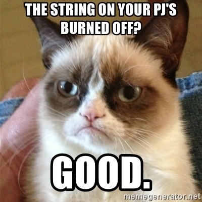 Grumpy Cat  - The String On your pj's burned off? good.
