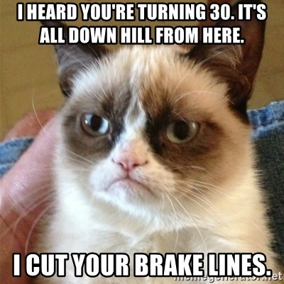 Grumpy Cat  - I heard you're turning 30. It's all down hill from here. i cut your brake lines.