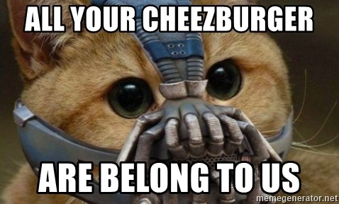 bane cat - All your CHEEZBURGER  are belong to us