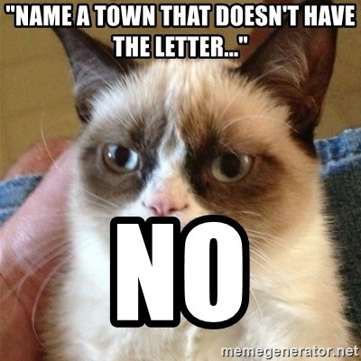 "Grumpy Cat  - ""Name a Town That doesn't have the letter..."" NO"