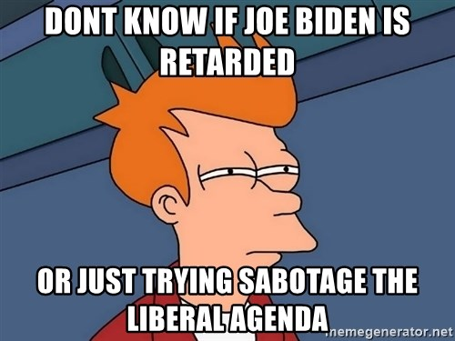 Futurama Fry - dont know if joe biden is retarded or just trying sabotage the liberal agenda