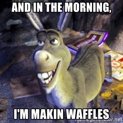 Donkey Shrek - and in the morning, I'm makin waffles