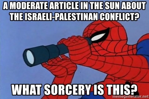 Spiderman Lunar Eclipse - A Moderate article in the sun about the israeli-palestinan conflict? What sorcery is this?