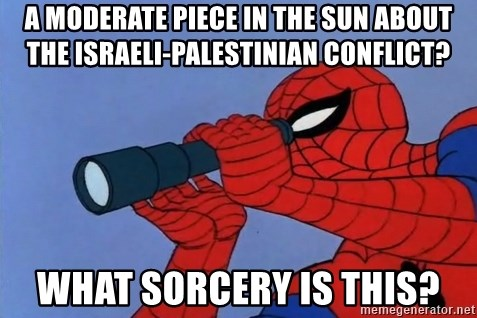 Spiderman Lunar Eclipse - a moderate piece in the sun about the israeli-palestinian conflict? what sorcery is this?