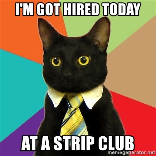 Business Cat - I'M GOT HIRED TODAY AT A STRIP CLUB