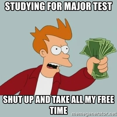 Shut Up And Take My Money Fry - STUDYING FOR MAJOR TEST SHUT UP AND TAKE ALL MY FREE TIME