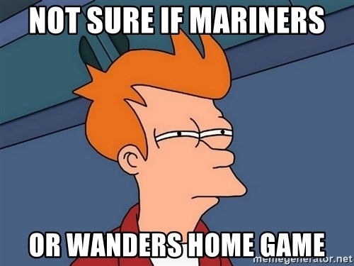 Futurama Fry - NOT SURE IF MARINERS OR WANDERS HOME GAME