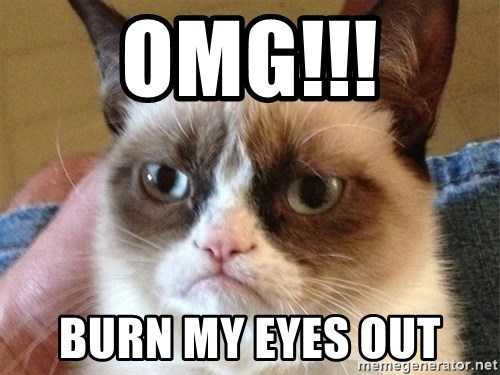 Angry Cat Meme - OMG!!! BURN MY EYES OUT