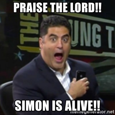 Surprised Cenk - PRAISE THE LORD!! SIMON IS ALIVE!!