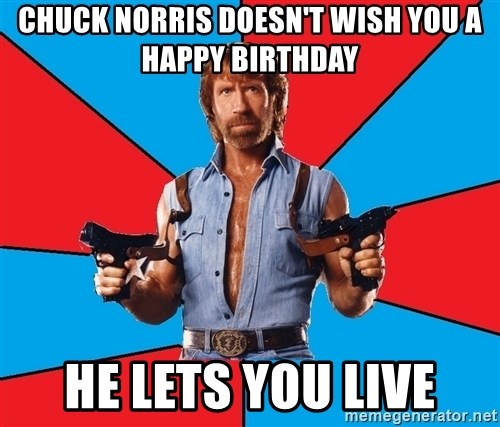 Chuck Norris  - Chuck Norris doesn't wiSh you a happy birthday He lets you live