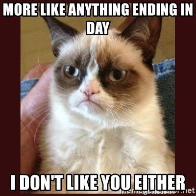 Tard the Grumpy Cat - More like anything ending in Day I Don't like you either