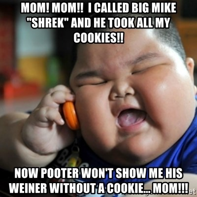 "fat chinese kid - Mom! Mom!!  I called big mike ""shrek"" and he took all my cookies!!  Now Pooter won't show me his weiner without a cookie... MOM!!!"