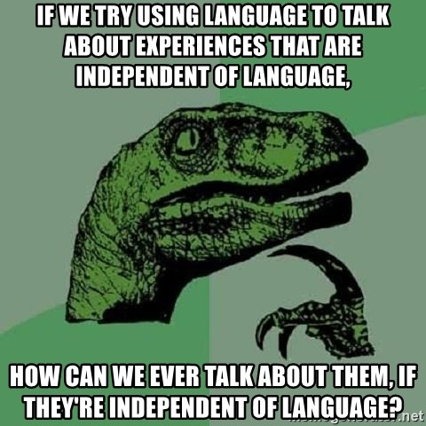 Philosoraptor - IF WE TRY USING LANGUAGE TO TALK ABOUT EXPERIENCES THAT ARE INDEPENDENT OF LANGUAGE, HOW CAN WE EVER TALK ABOUT THEM, IF THEY'RE INDEPENDENT OF LANGUAGE?