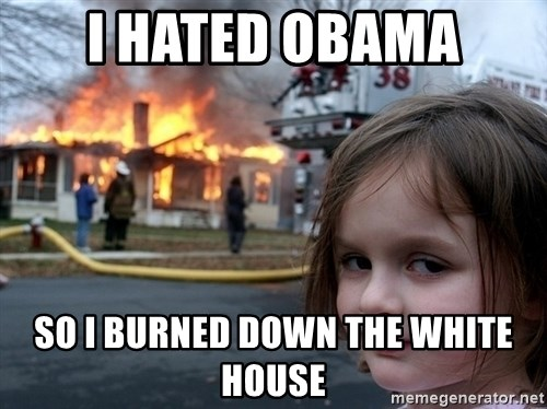 Disaster Girl - i hated obama so i burned down the white house