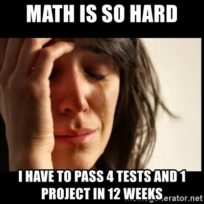 First World Problems - math is so hard  I have to pass 4 tests and 1 project in 12 weeks
