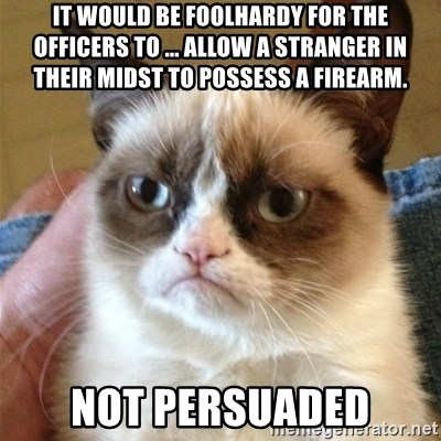 Grumpy Cat  - it would be foolhardy for the officers to ... allow a stranger in their midst to possess a firearm. not persuaded