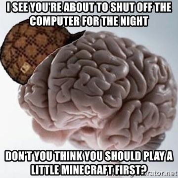 Scumbag Brain - i see you're about to shut off the computer for the night don't you think you should play a little minecraft first?