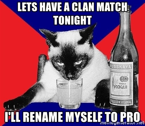 Alco-cat - lets have a clan match tonight i'll rename myself to pro