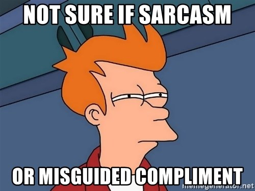 Futurama Fry - not sure if sarcasm or misguided compliment