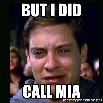 crying peter parker - but i did call mia
