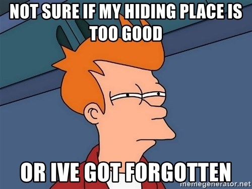 Futurama Fry - not sure if my hiding place is too good or ive got forgotten