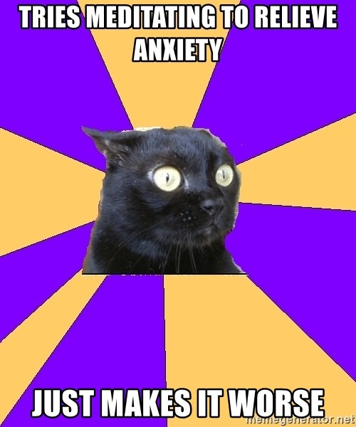 Anxiety Cat - Tries meditating to relieve anxiety just makes it worse