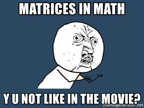 Y U No - Matrices in math y u not like in the movie?