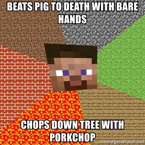 Minecraft Guy - beats pig to death with bare hands chops down tree with porkchop