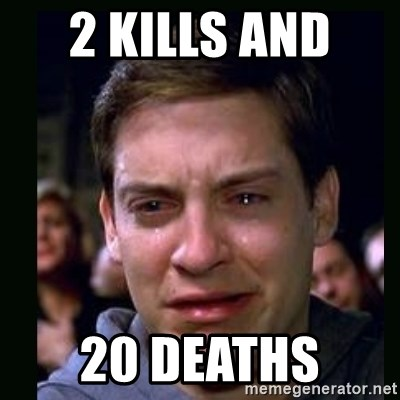 crying peter parker - 2 KILLS AND  20 DEATHS