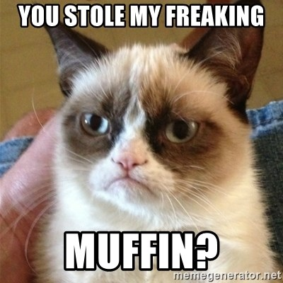 Grumpy Cat  - you stole my freaking muffin?