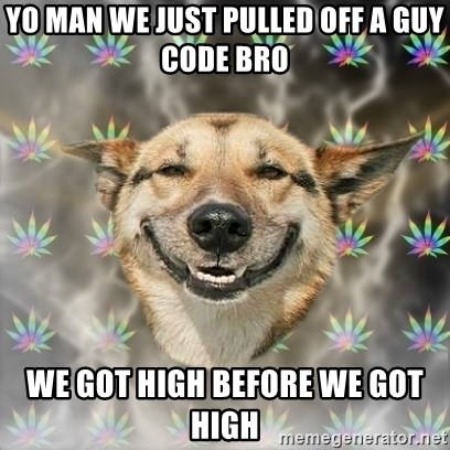 Stoner Dog - YO MAN WE JUST PULLED OFF A GUY CODE BRO WE GOT HIGH BEFORE WE GOT HIGH