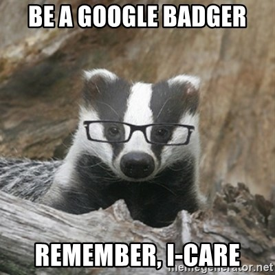 Nerdy Badger - be a google badger remember, i-Care