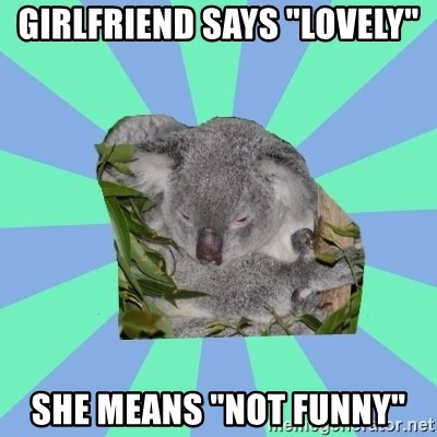 "Clinically Depressed Koala - Girlfriend says ""lovely"" She means ""Not funny"""