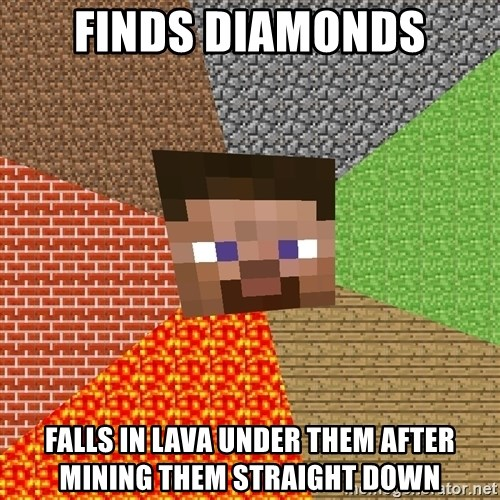 Minecraft Guy - Finds diamonds falls in lava under them after mining them straight down