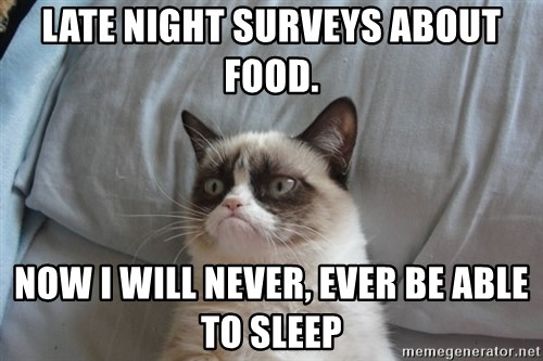 Grumpy cat good - Late Night surveys about food. now i will never, ever be able to sleep