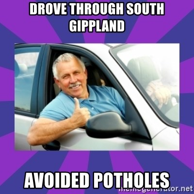 Perfect Driver - Drove through south Gippland avoided potholes