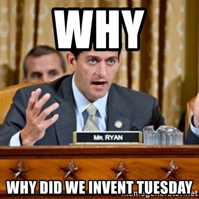 Paul Ryan Meme  - WHY  WHY DID WE INVENT TUESDAY