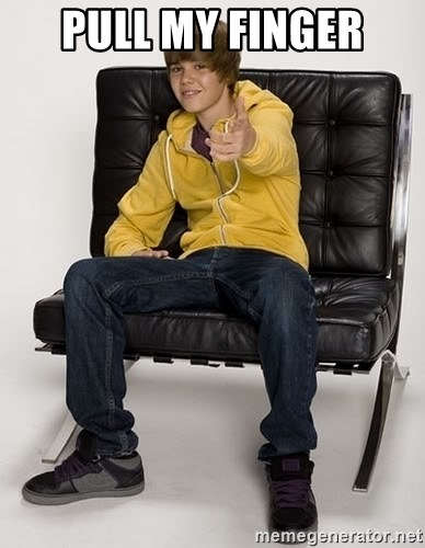 Justin Bieber Pointing - Pull my finger