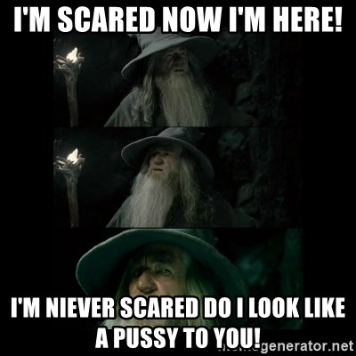 Confused Gandalf - I'm scared now i'm here! I'm niever scared do i look like a pussy to you!