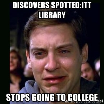crying peter parker - Discovers spotted:itt library stops going to college