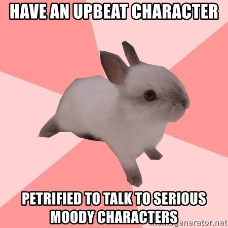 Roleplay Shipper Bunny - Have an upbeat character petrified to talk to serious moody characters