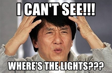 Jackie Chan - I can't see!!! Where's the lights???