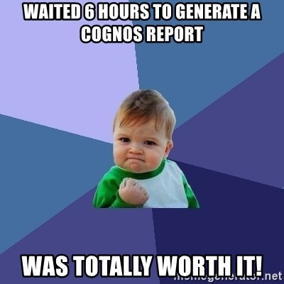 Success Kid - Waited 6 hours to generate a cognos report was totally worth it!