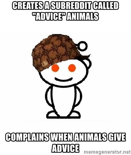 "ScumbagReddit - Creates a subreddit called ""advice"" animals Complains when animals give advice"