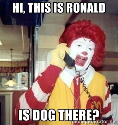 Ronald Mcdonald Call - Hi, this is ronald is dog there?