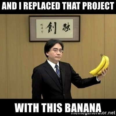Satoru Iwata Holding Bananas  - and i replaced that project with this banana