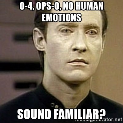 Star Trek Data - o-4, ops-o, no human emotions sound familiar?